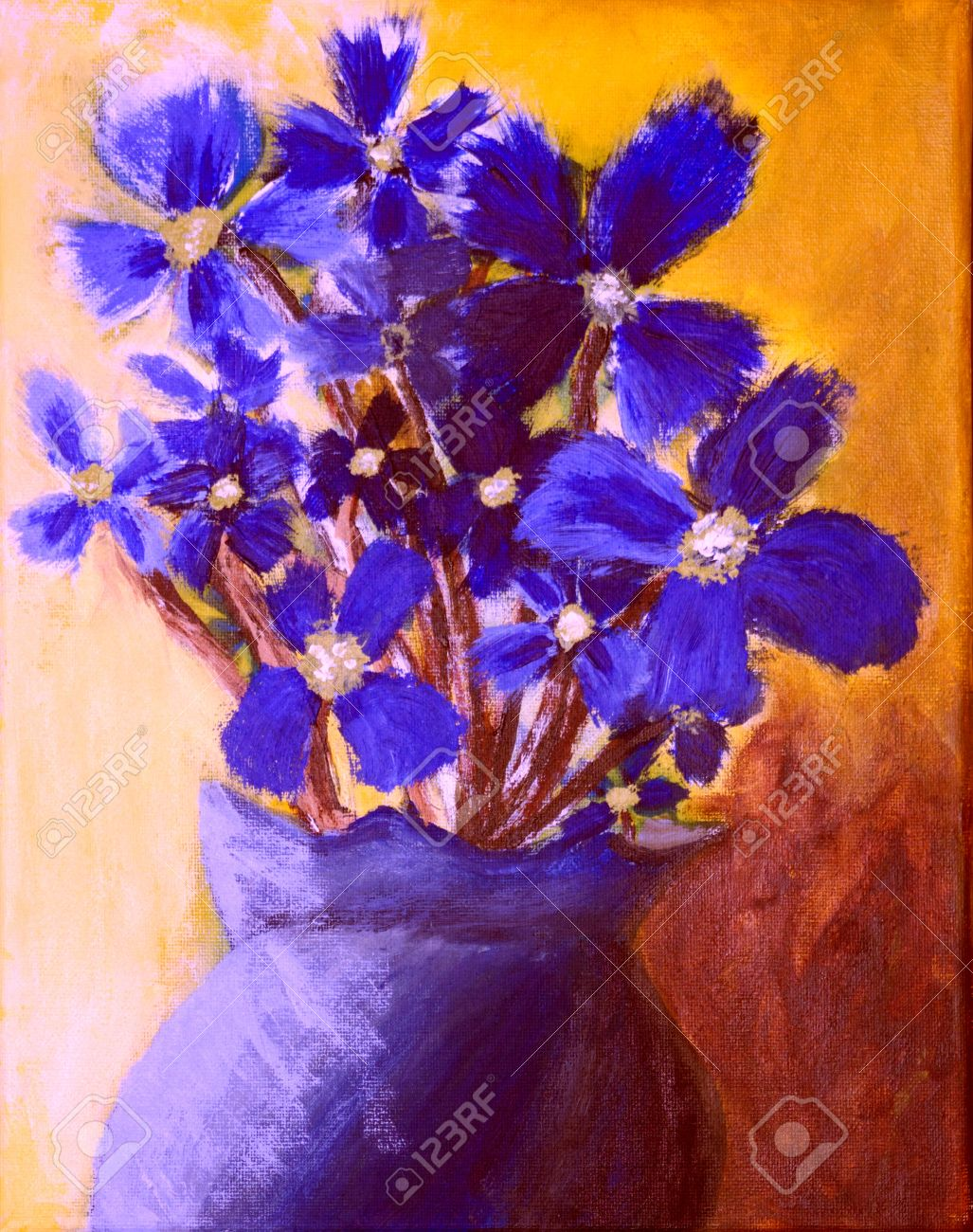Blue Flowers In A Vase Stock Photo