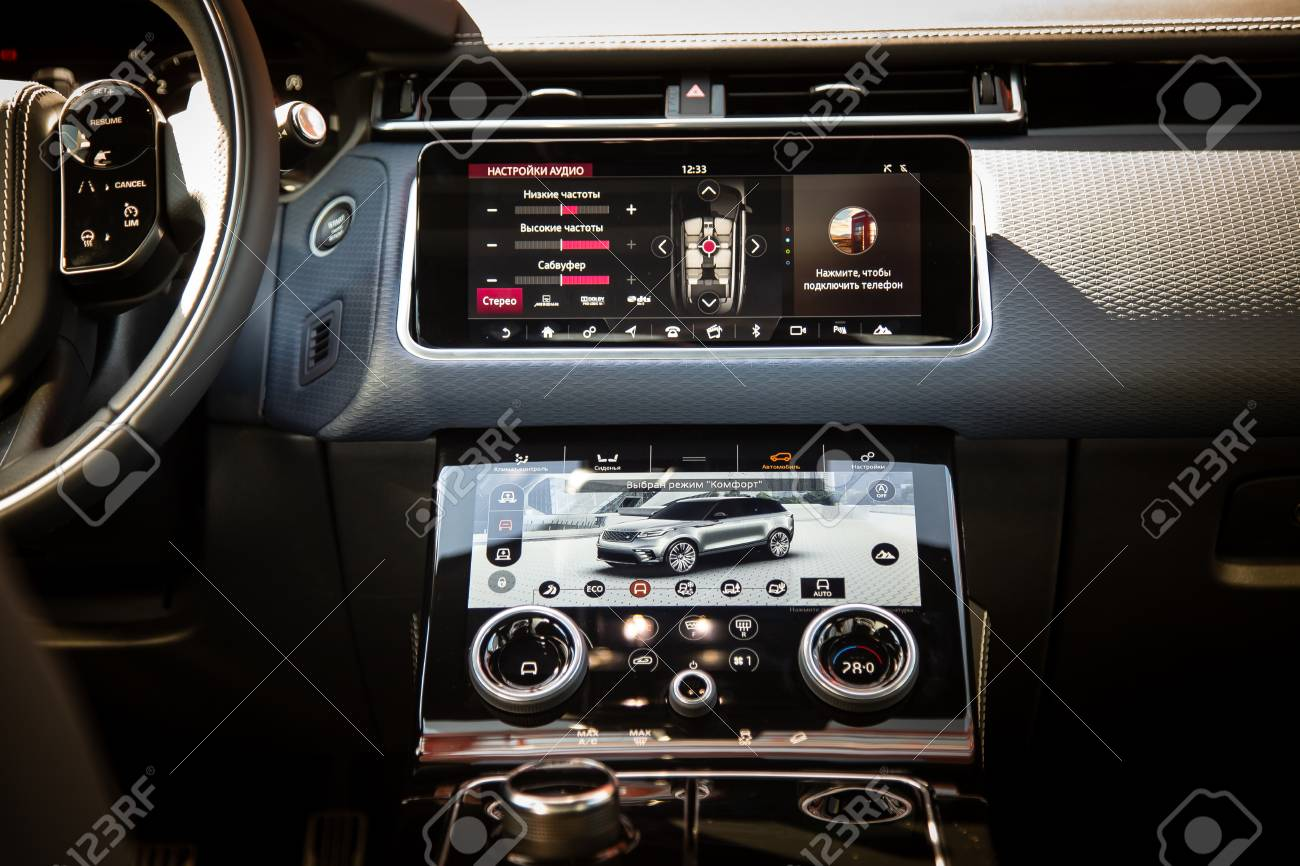 Moscow Autumn 2018 Interior Of The Land Rover Range Rover Velar