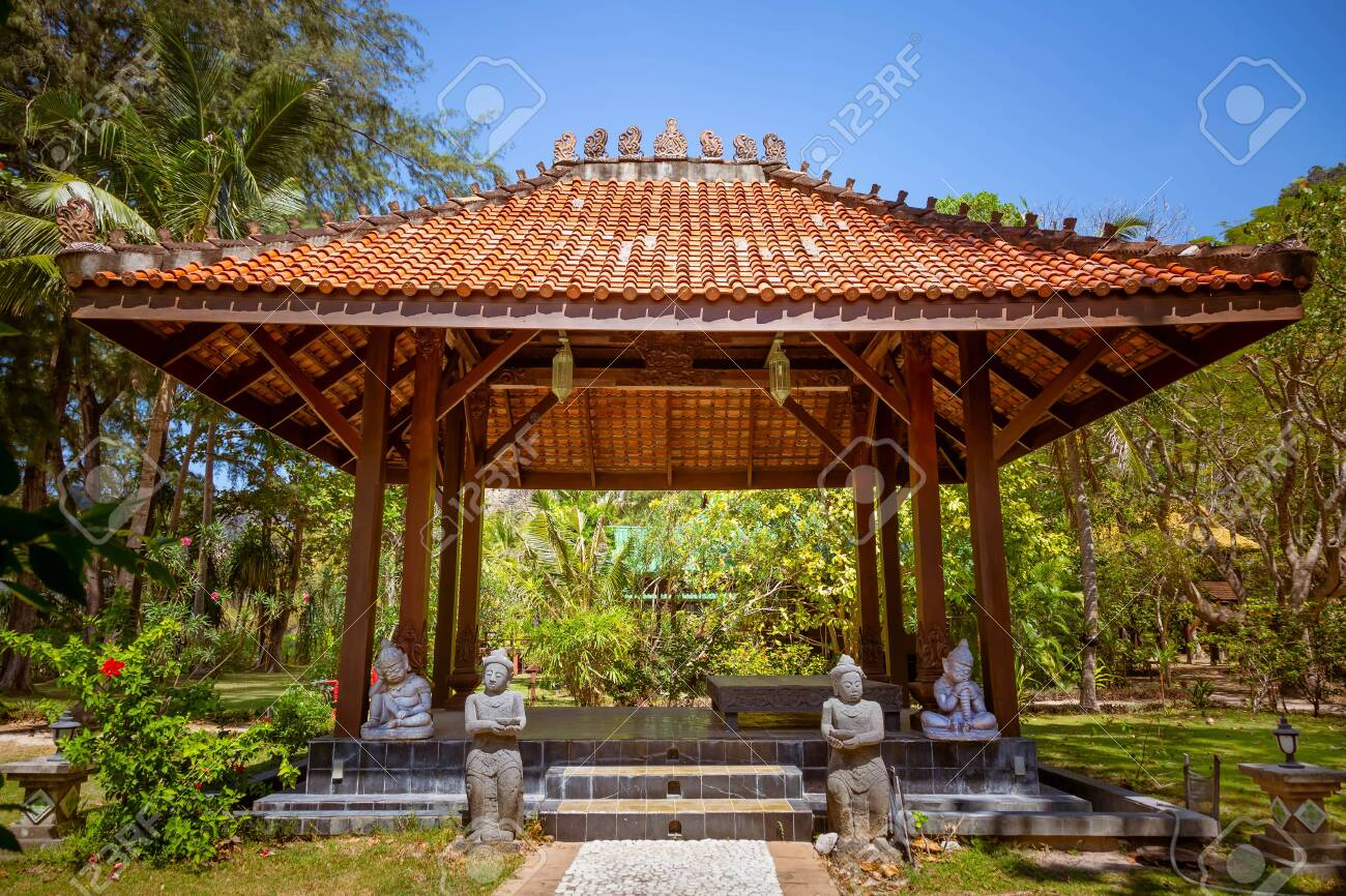 Antique Gazebo Pavilion With A Roof Asian Style Pagoda In A