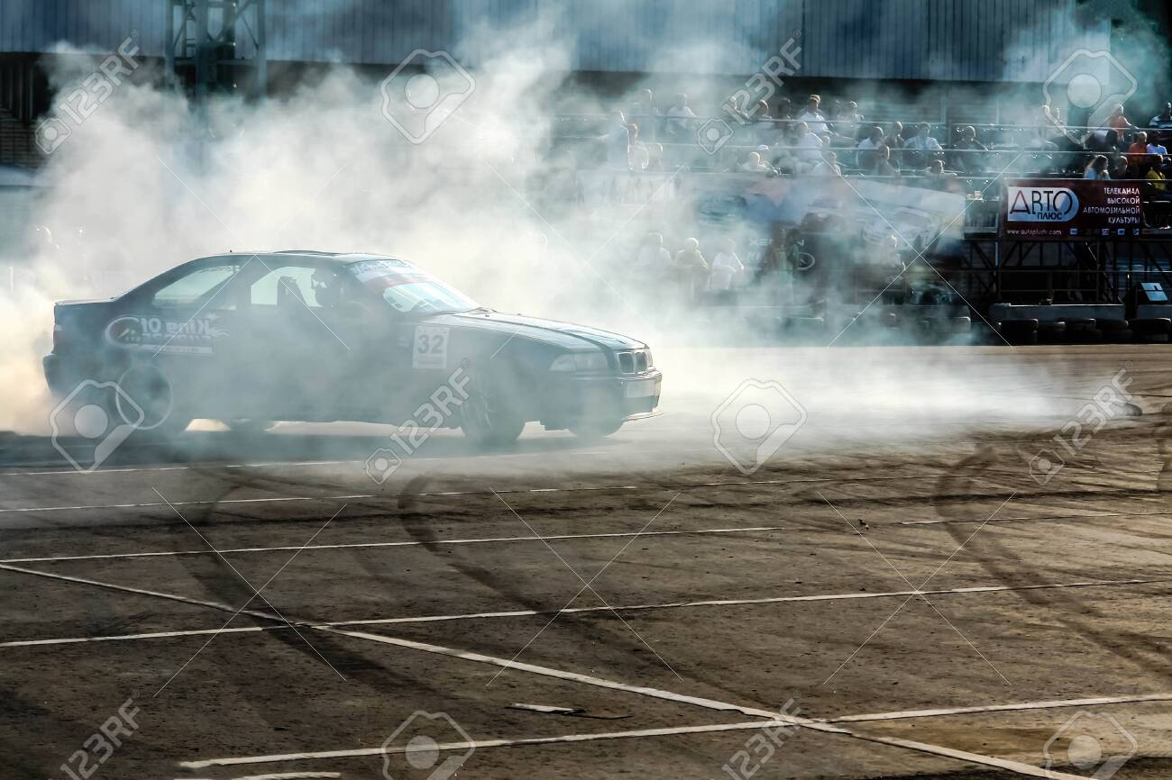Moscow Russia May 25 2019 Black Drift Bmw Tuned Car Drifting Stock Photo Picture And Royalty Free Image Image 139043866