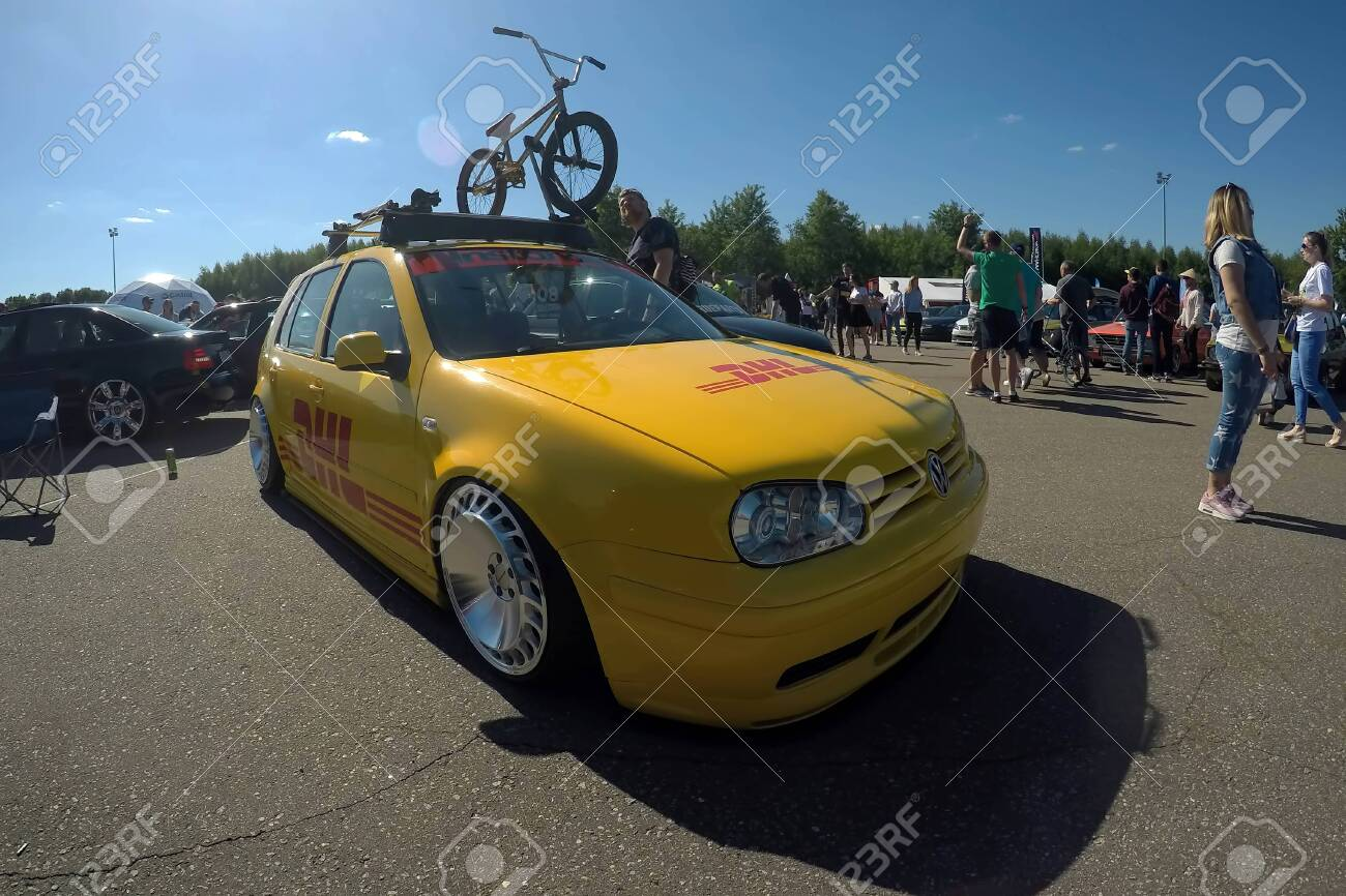 Moscow Russia June 01 2019 Yellow Tuned Volkswagen Golf Stock Photo Picture And Royalty Free Image Image 139043969