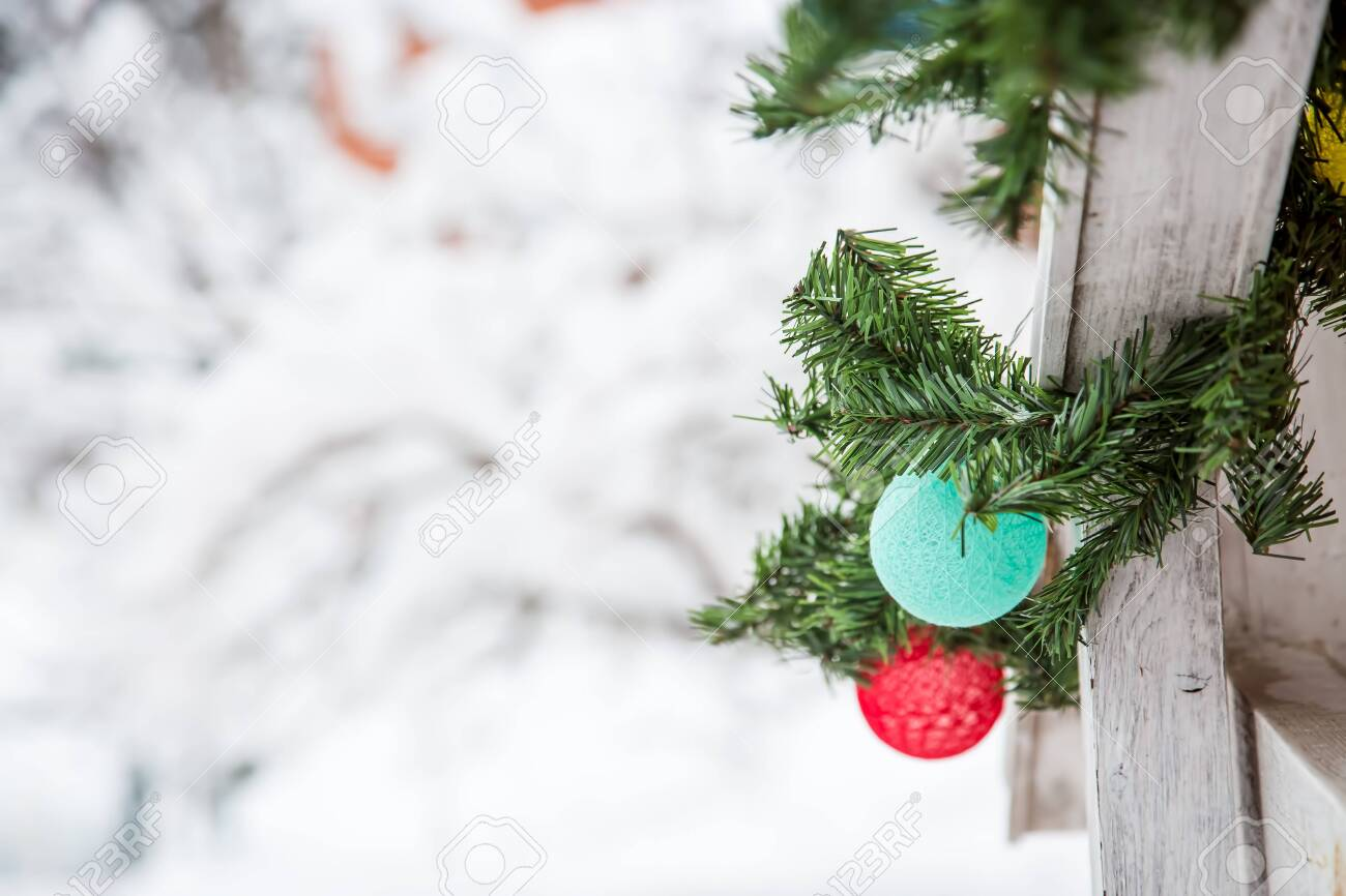 Christmas And New Year Decorations On The Street In The Snow Stock Photo Picture And Royalty Free Image Image 131328574
