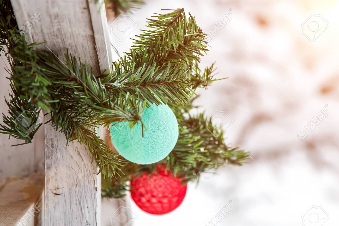 Christmas And New Year Decorations On The Street In The Snow Stock Photo Picture And Royalty Free Image Image 137880126