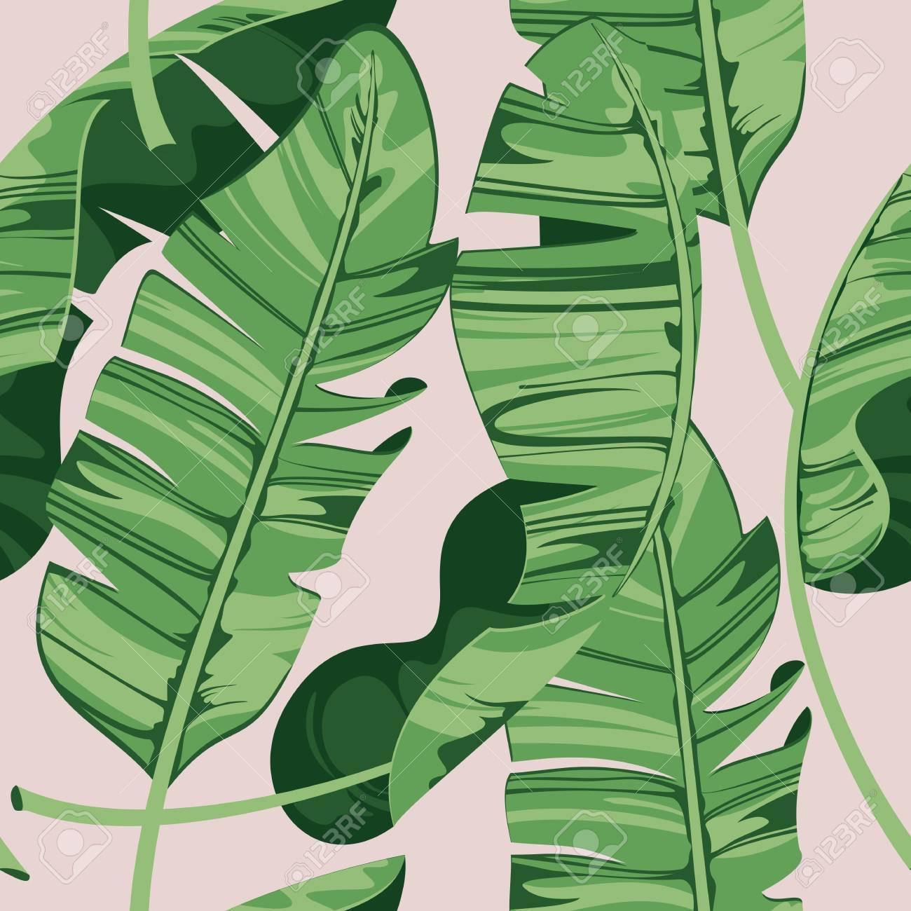Tropical Print Summer Exotic Plant Banana Leaves Pattern Seamless