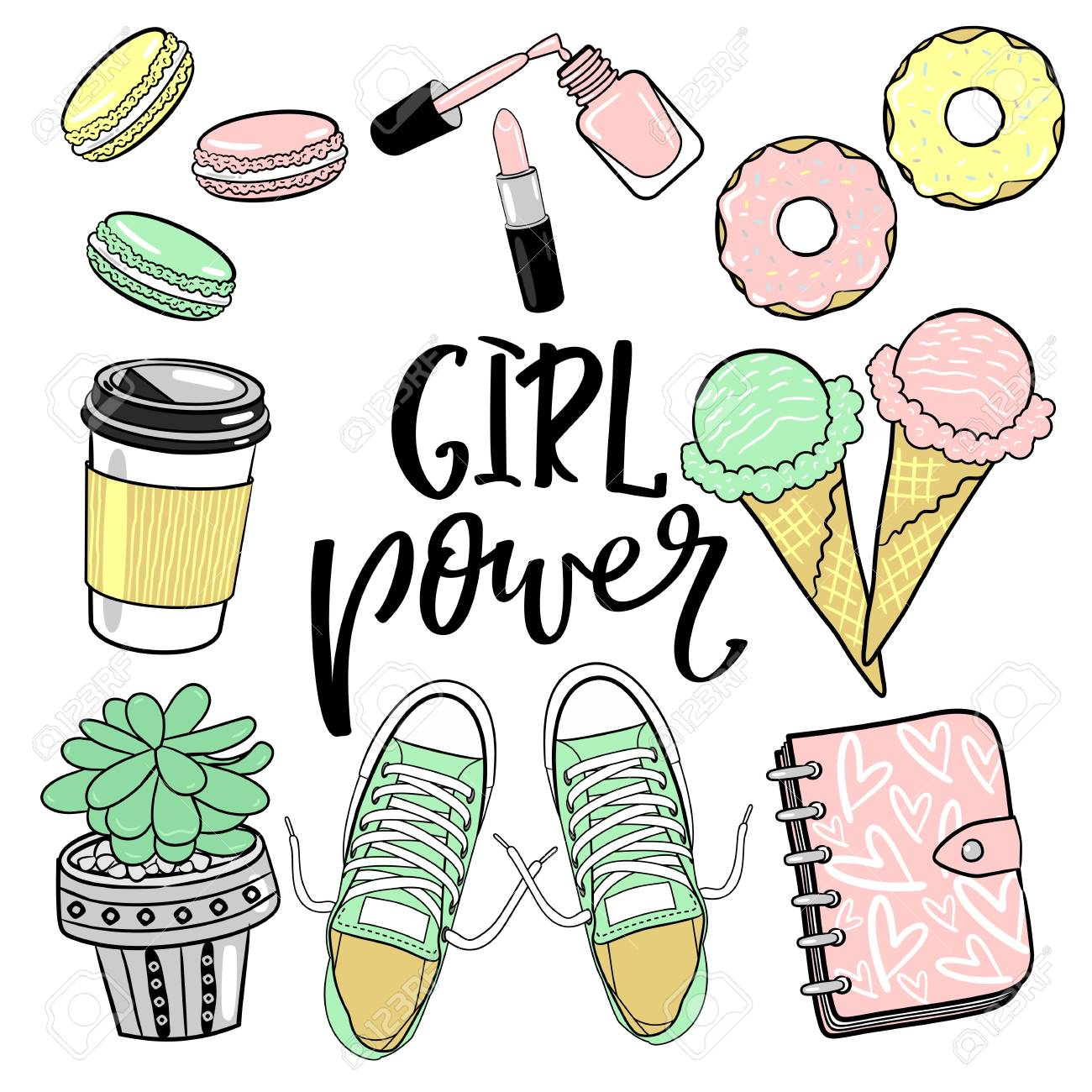 Girl power stickers with lettering set with glamour elements cute stickers for girls