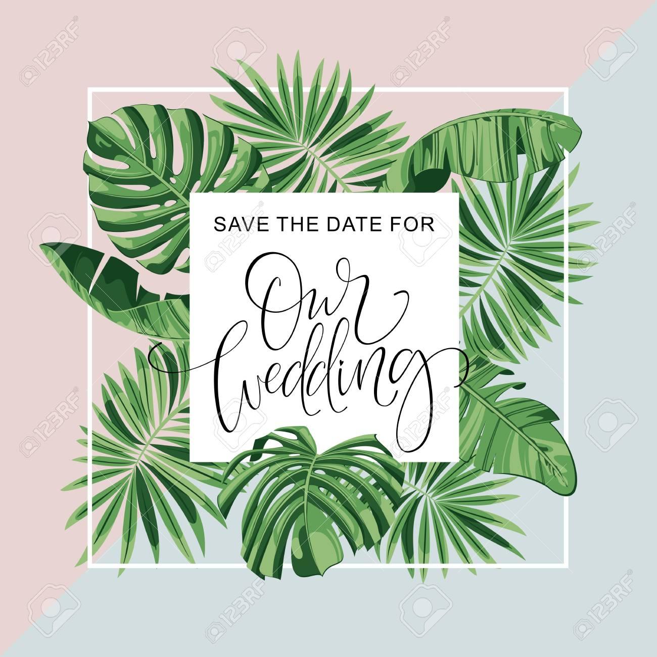 Wedding Invitation Card. Tropical Flowers Background. Banana ...