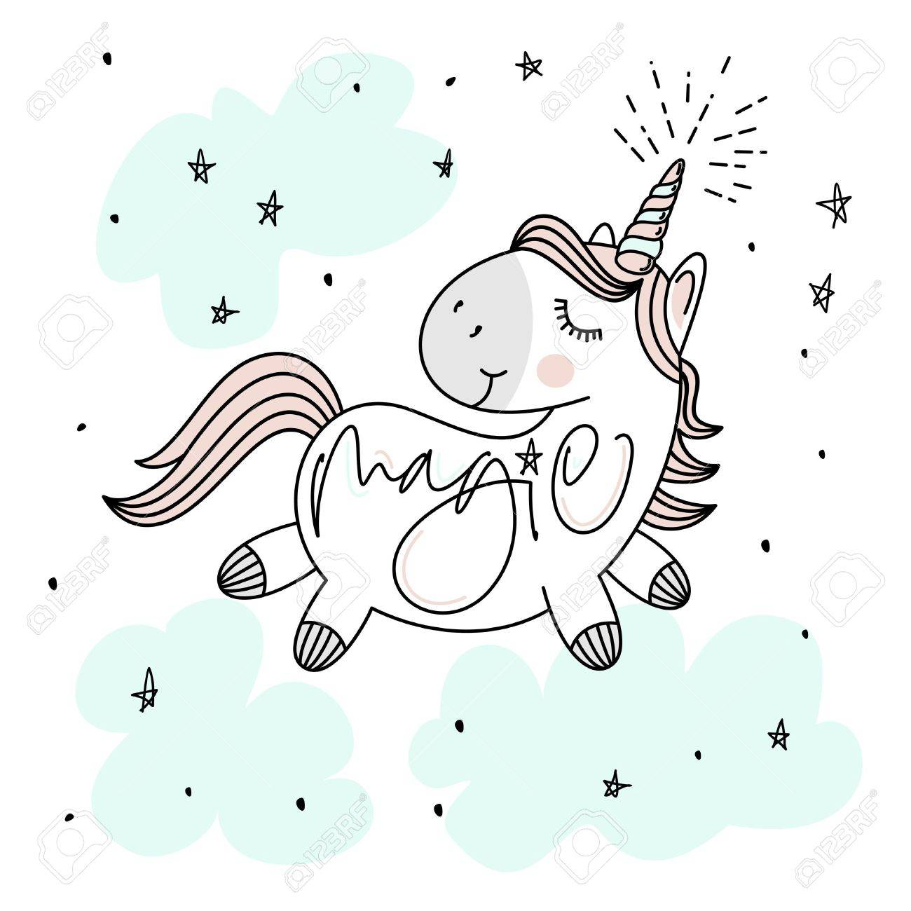 Attractive Magic Cute Unicorn, Stars, Clouds And Hand Lettering Poster, Greeting Card,  Vector