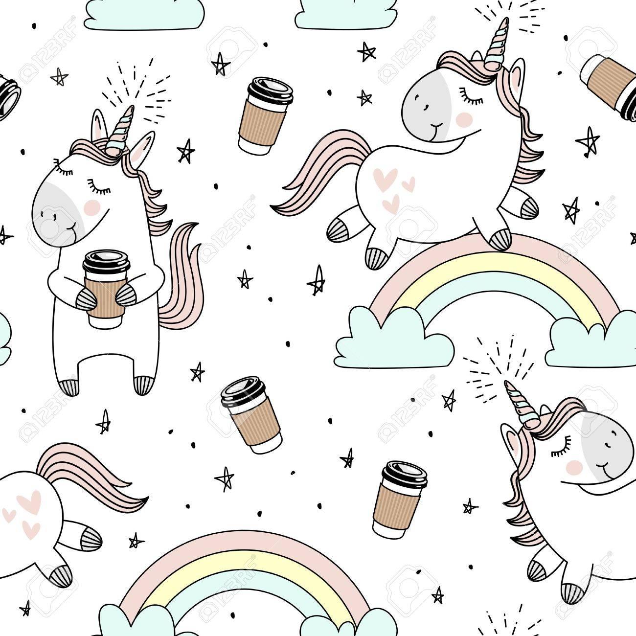 Vektor Muster Mit Sussen Einhornern Wolken Regenbogen Und Sterne