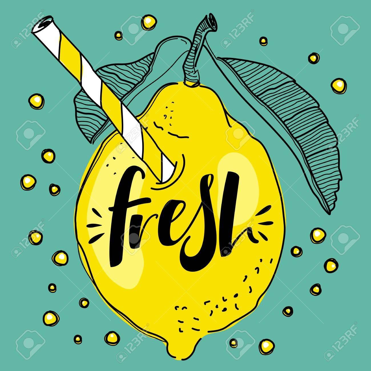 ストローで飲むとかわいいレモン新鮮なレモネ ード コンセプト