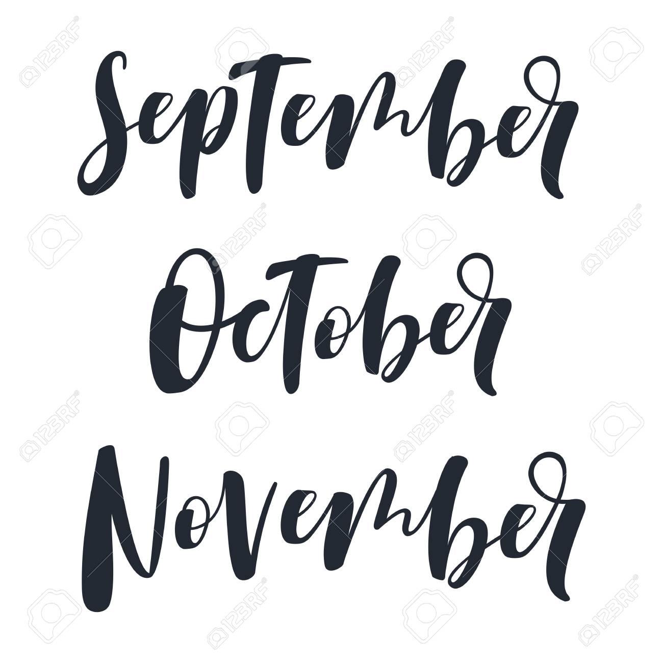 hand written september october november stock photo 84293280