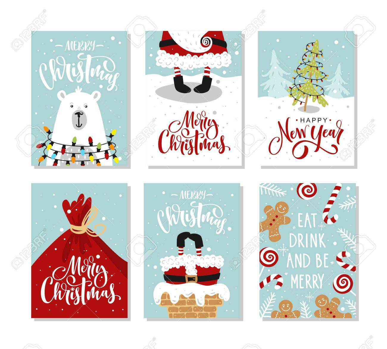Christmas Gift Cards Or Tags With Lettering Hand Drawn Design