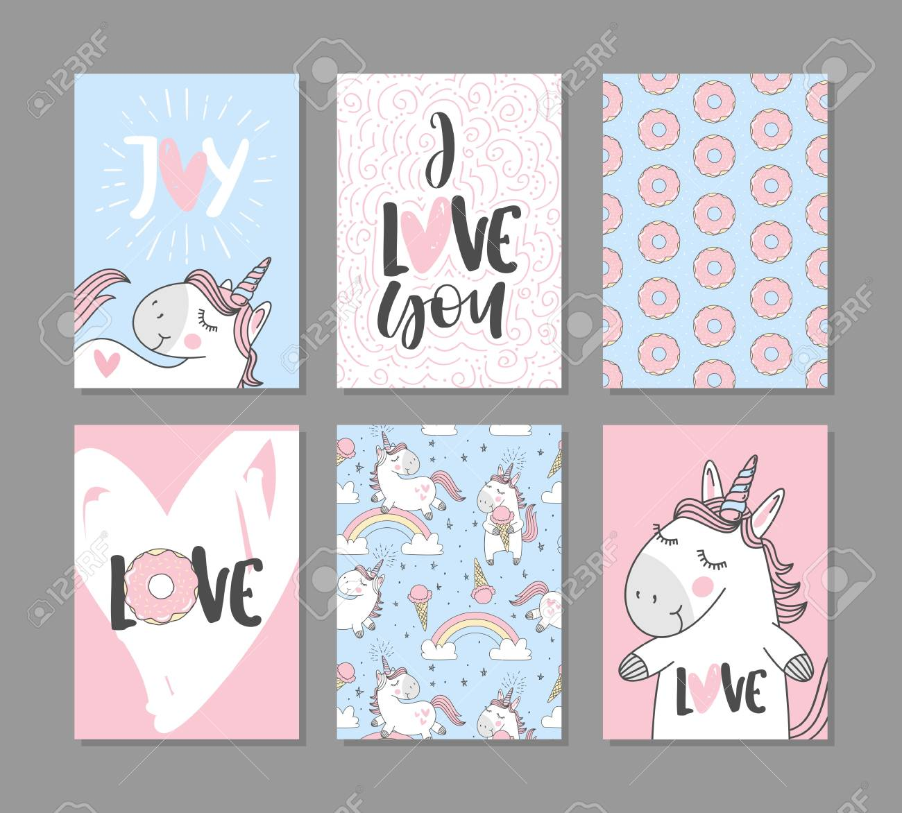 Romantic greeting cards with cute unicorns hand written text romantic greeting cards with cute unicorns hand written text stock vector 90928812 m4hsunfo