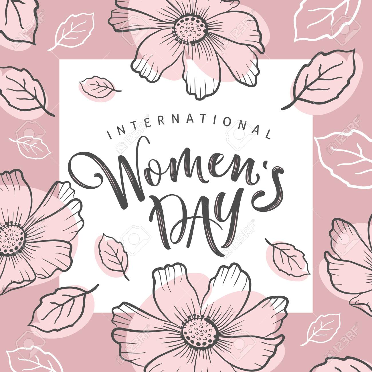 International Womens Day Greeting Card Calligraphic Hand Written