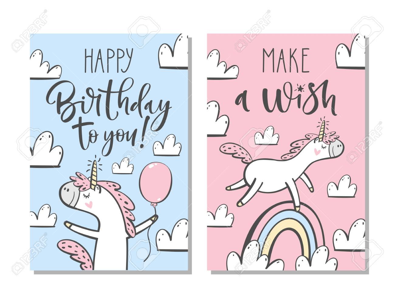 Cute Birthday Cards With Unicorn Rainbow Clouds And Hand Written Text Stock Vector