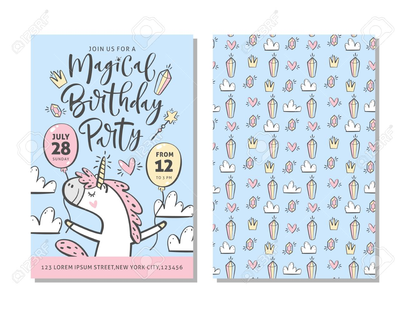 Birthday Party Invitation Card Template With Cute Unicorn And
