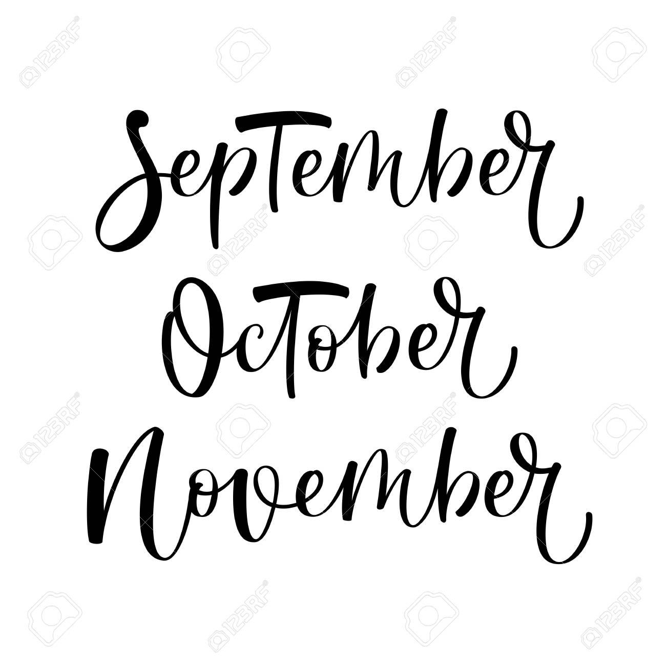 september october november vector hand written lettering set autumn months stock