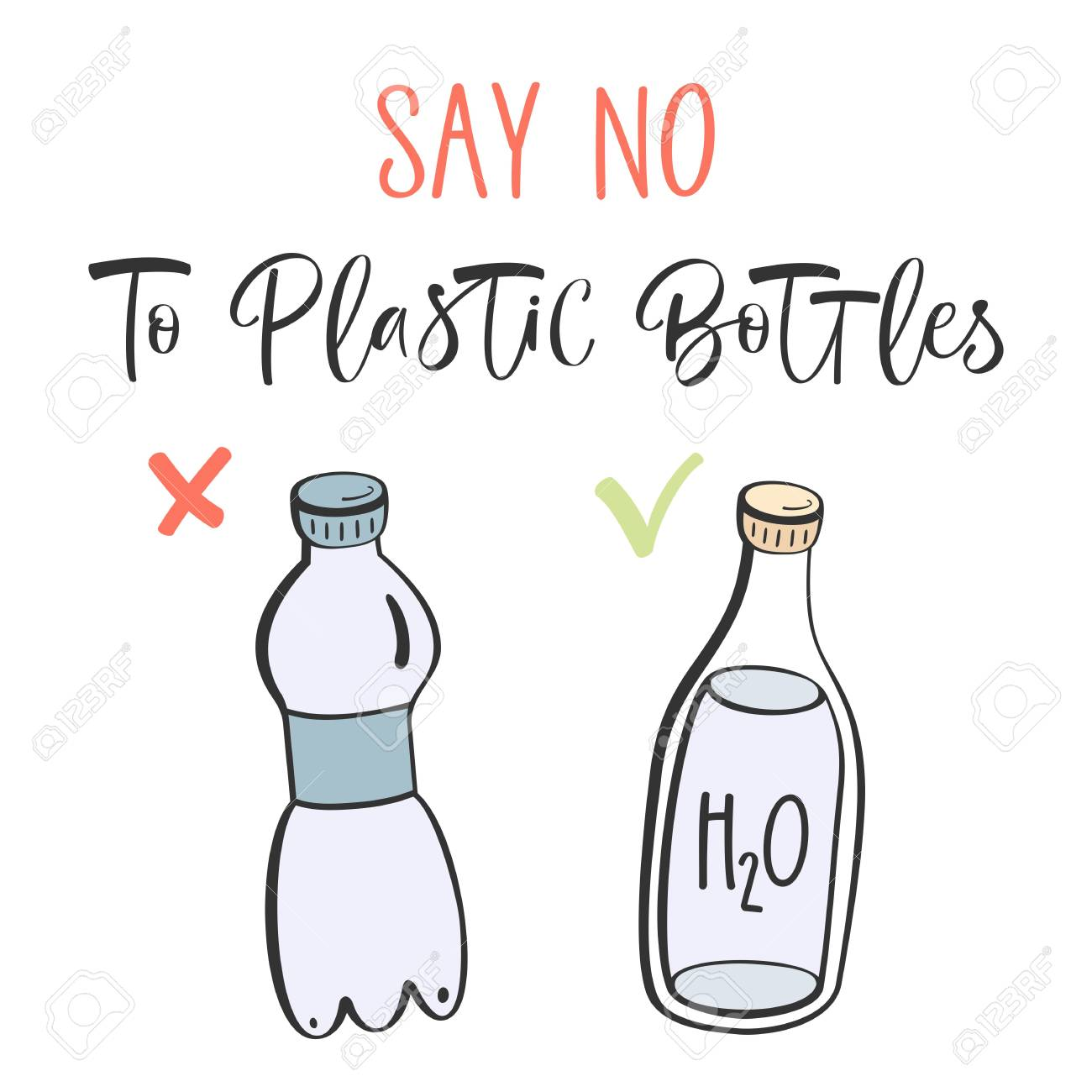Hand Draw Inscription Say No To Plastic Bottles White Background