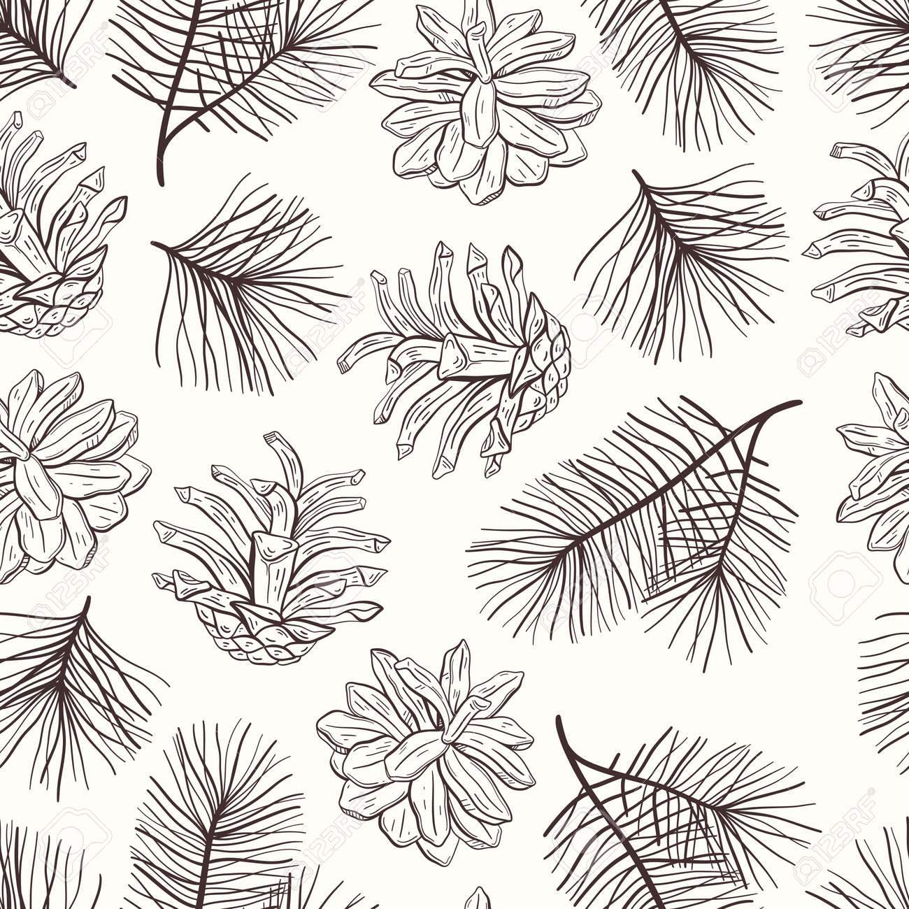 Elegant hand drawn Christmas seamless pattern with pine cones and branches. Winter botanical vintage background. Vector illustration - 159122699