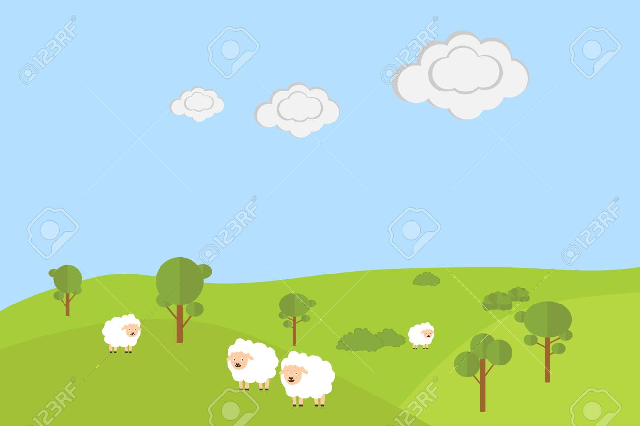 Sheep grazing in the meadow. Flat design, vector illustration, vector. - 72581187