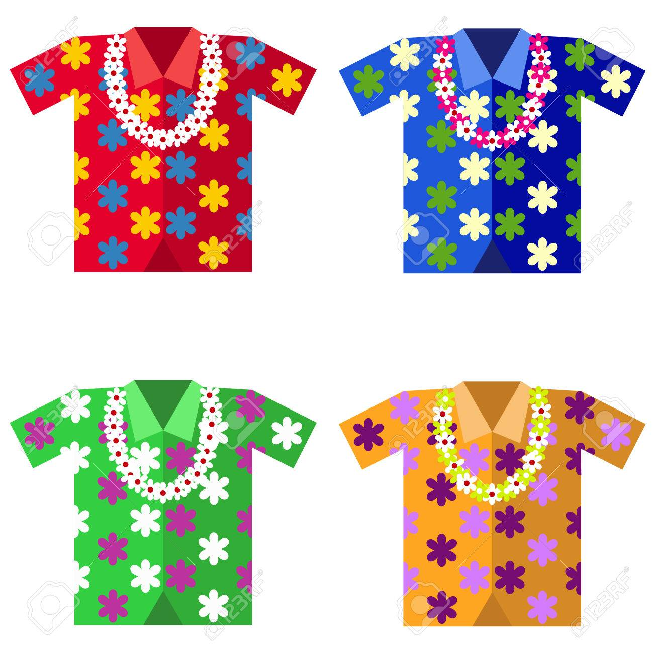 Hawaiian shirt with a garland of flowers flat design vector hawaiian shirt with a garland of flowers flat design vector illustration vector izmirmasajfo Images