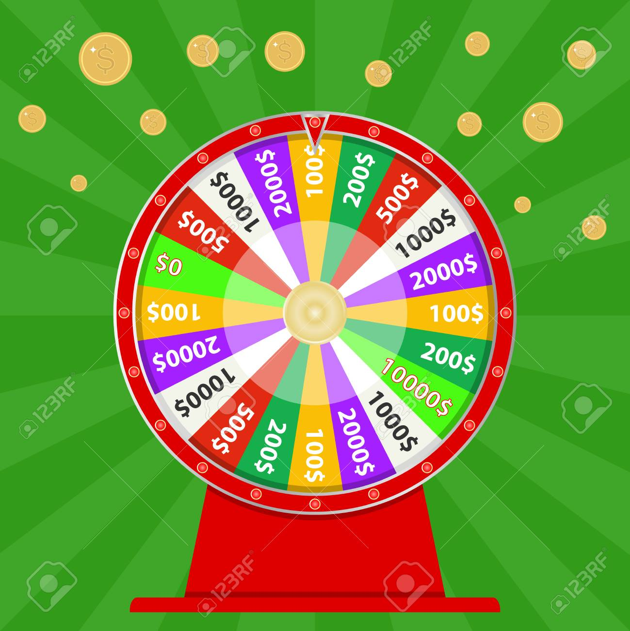 Spinning wheel of fortune, win money, try your luck  Flat design,