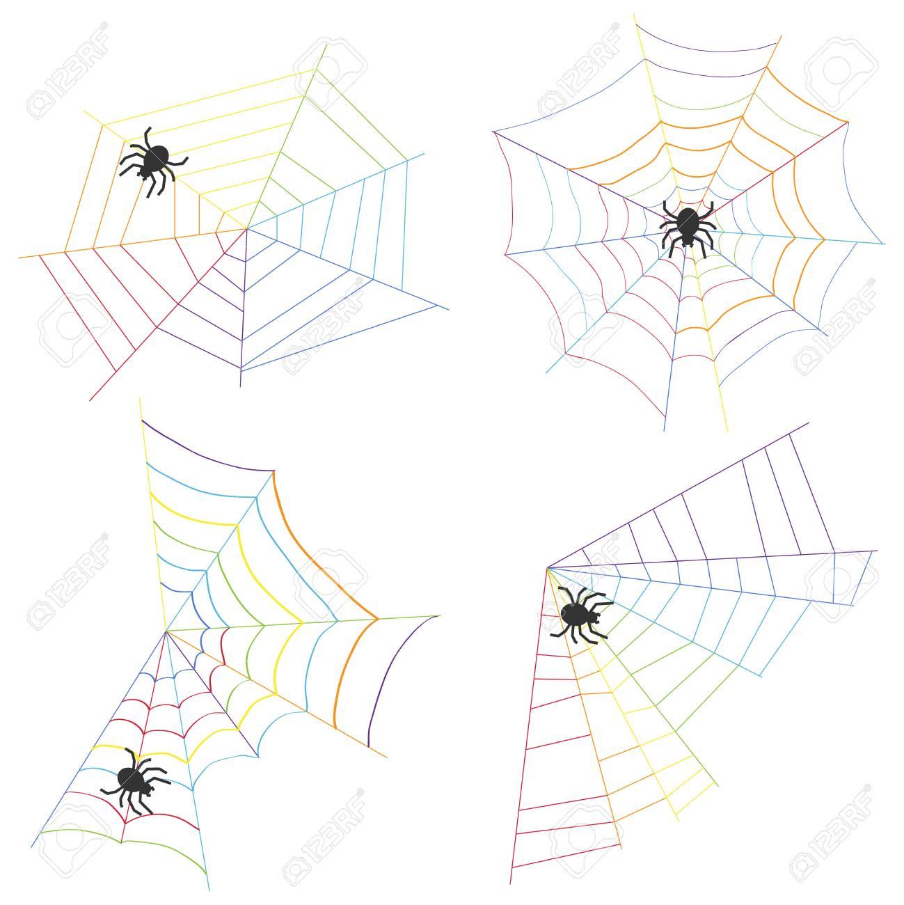 Telaraña Y Araña Tejen Una Ilustración De Vector De Diseño Web Plana ...