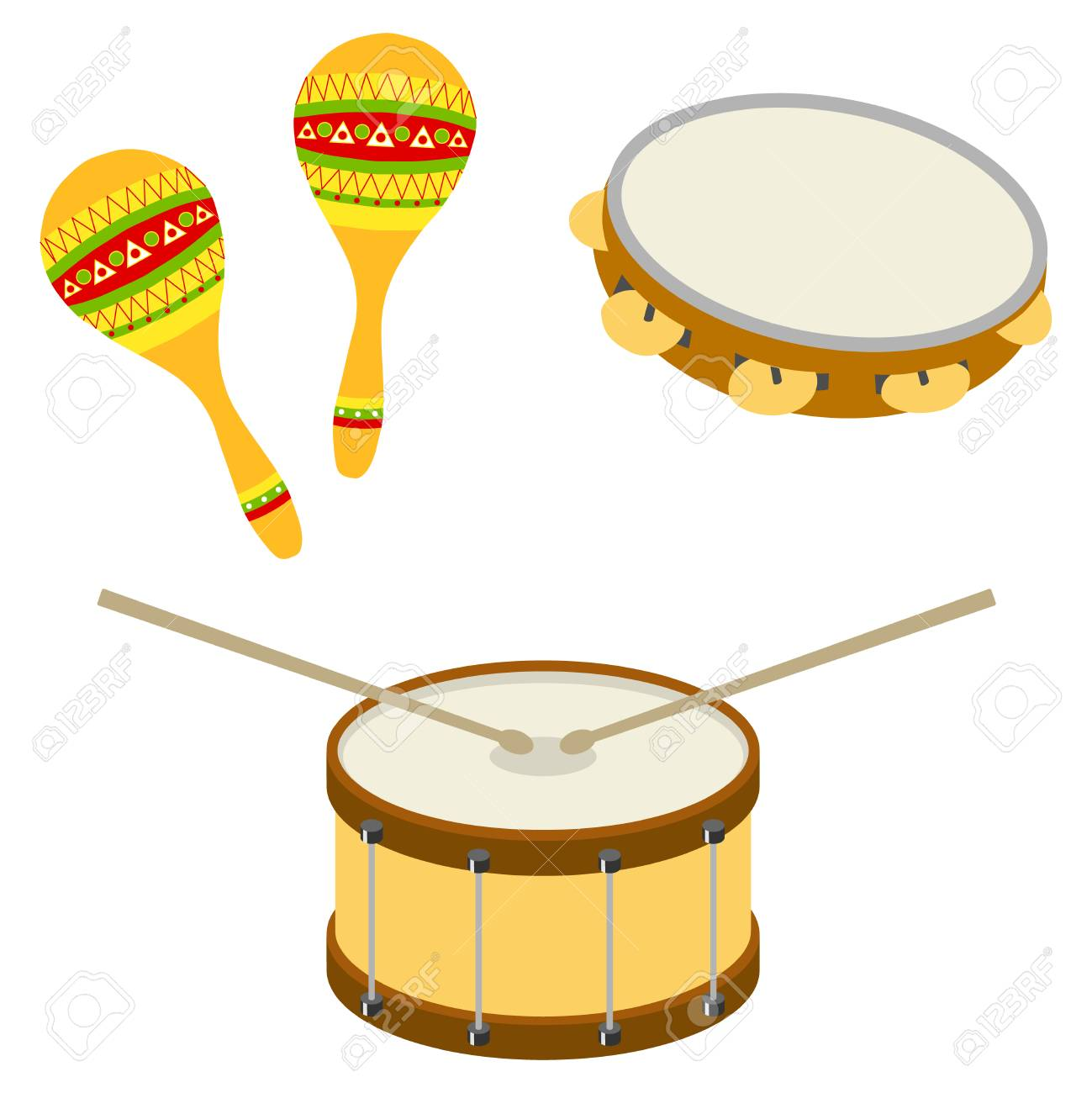 Drum, tambourine, maracas  Musical percussion instruments  Flat