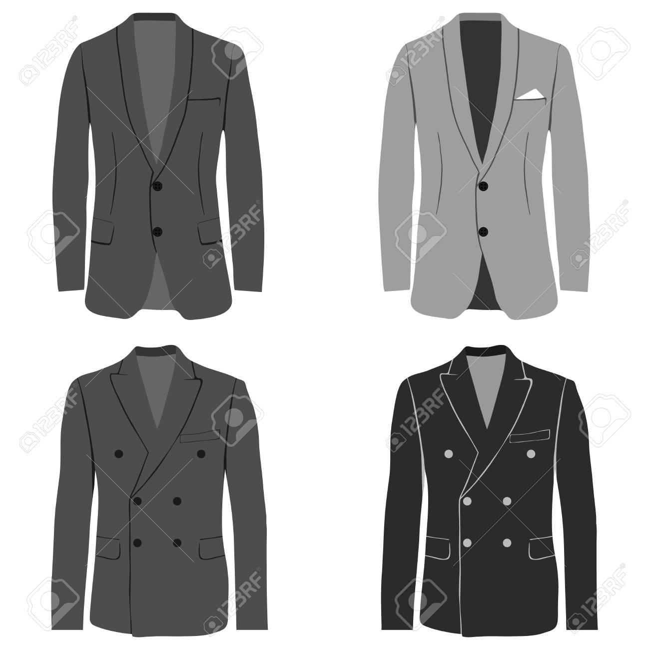3caa17b750689 Men's jacket, double-breasted and single-breasted jacket, costume. Flat  design