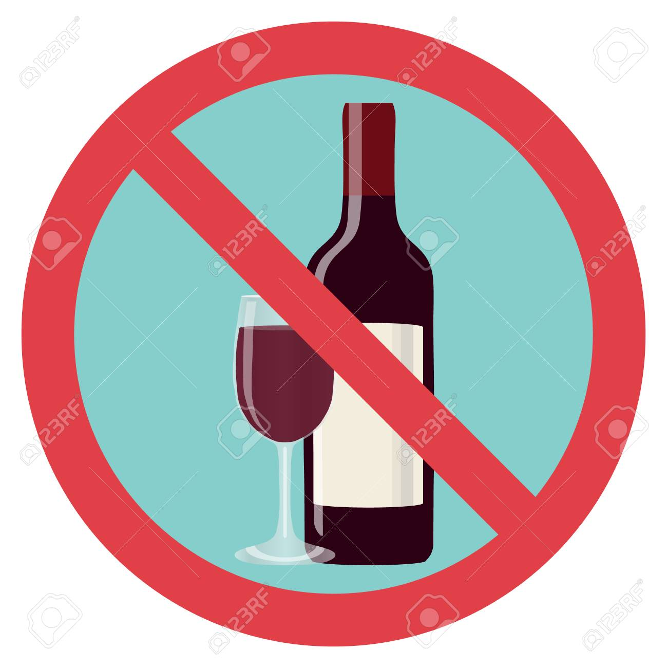 Refusal of alcohol, stop alcohol. A bottle of wine with a glass is crossed out with a red line. Flat design, vector illustration, vector. - 95254063