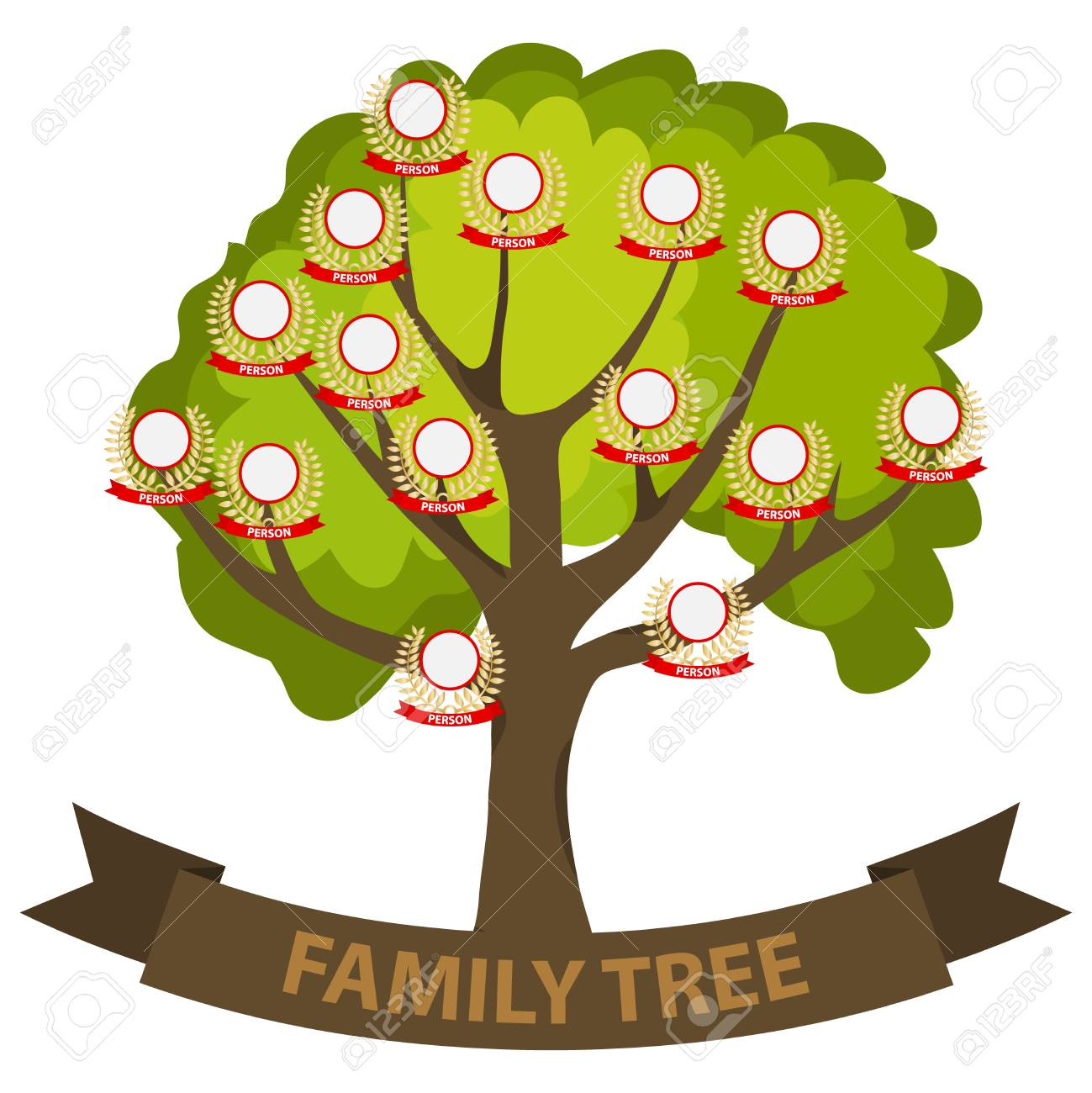 genealogy tree family tree with family members flat design