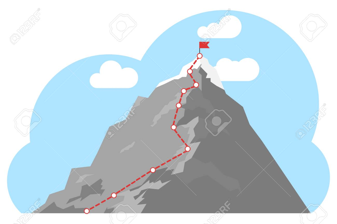 Mountain climbing route to peak. Top of the mountain with red flag. Business success concept. Business journey path in progress to success concept. - 124949297