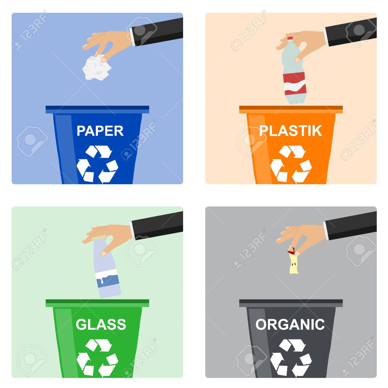 Man hand throws garbage into a plastic container. Hand of man throwing garbage into organic container. Concept of garbage processing. - 122402645
