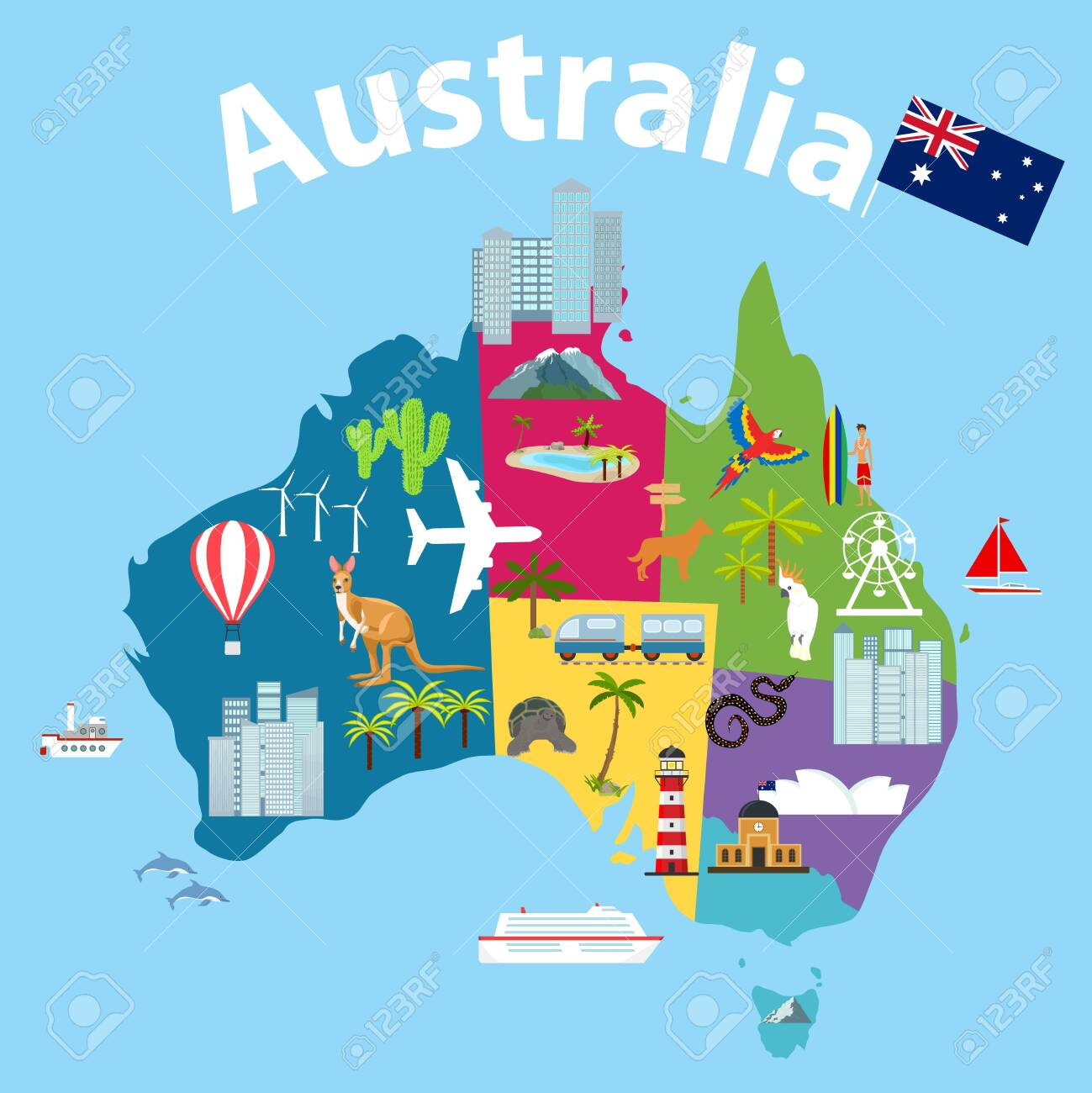 Australia Map Landmarks.Map Of Australia Tourist Map Of Australia Cartoon Map Of Australia