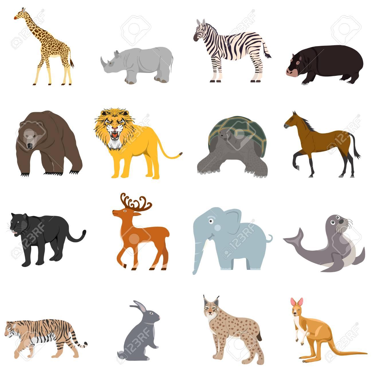 Animals, a large set of animals. Cartoon illustration of animals. - 122403771