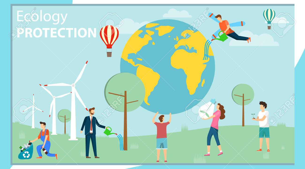 Environmental protection. Ecology protection. A group of mini people care about the environment and protect the environment. Vector illustration, vector. - 131733711
