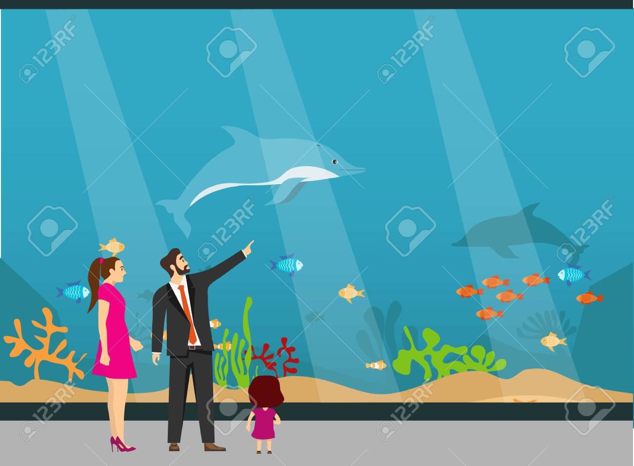Oceanarium, a young family with children examines fish in the aquarium. The underwater world of the aquarium. Vector illustration. Vector. - 148502760