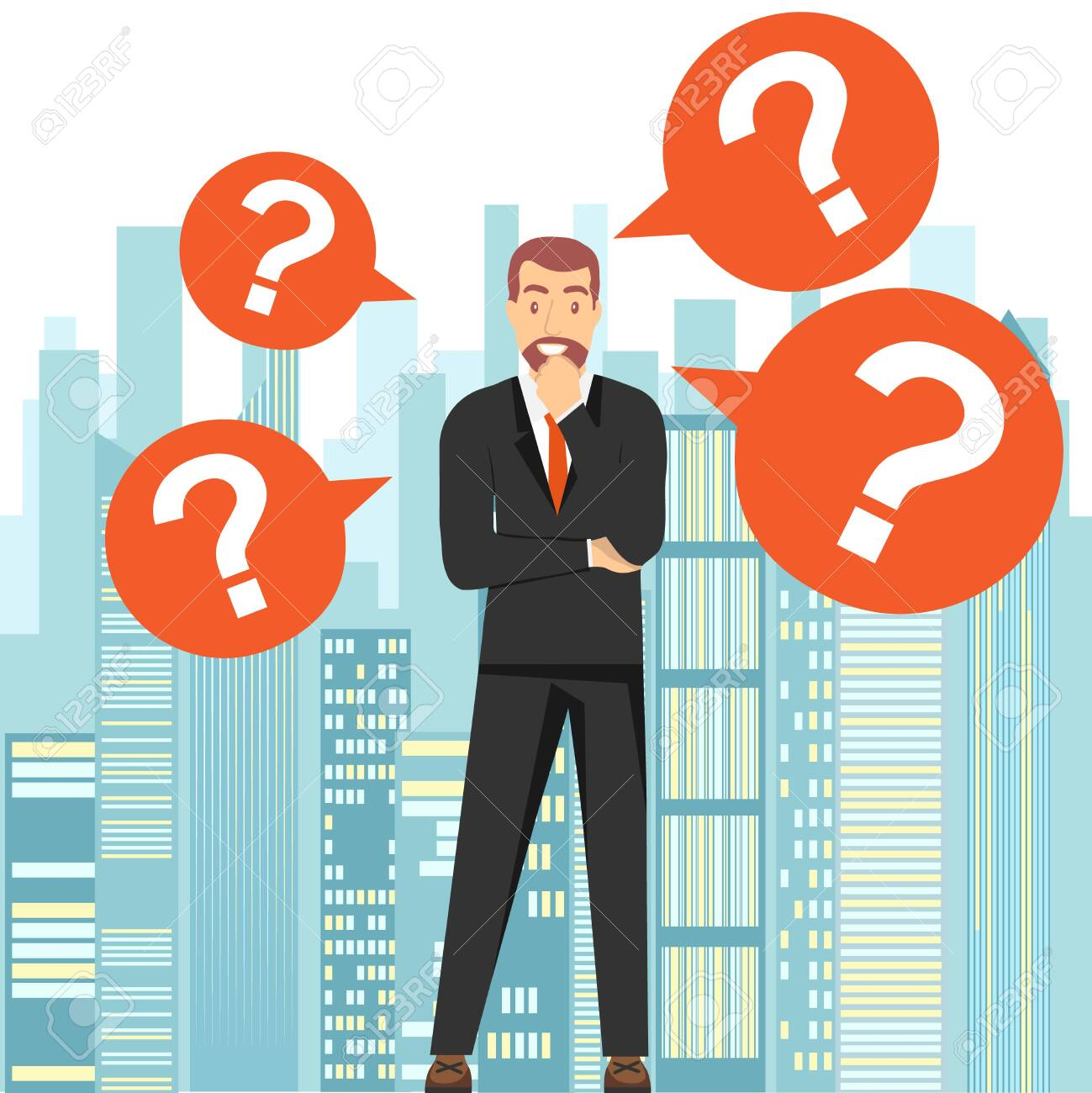Thinking man. A man stands and thinks about a solution to the problem against the backdrop of the city landscape. Vector illustration. Vector. - 147875738