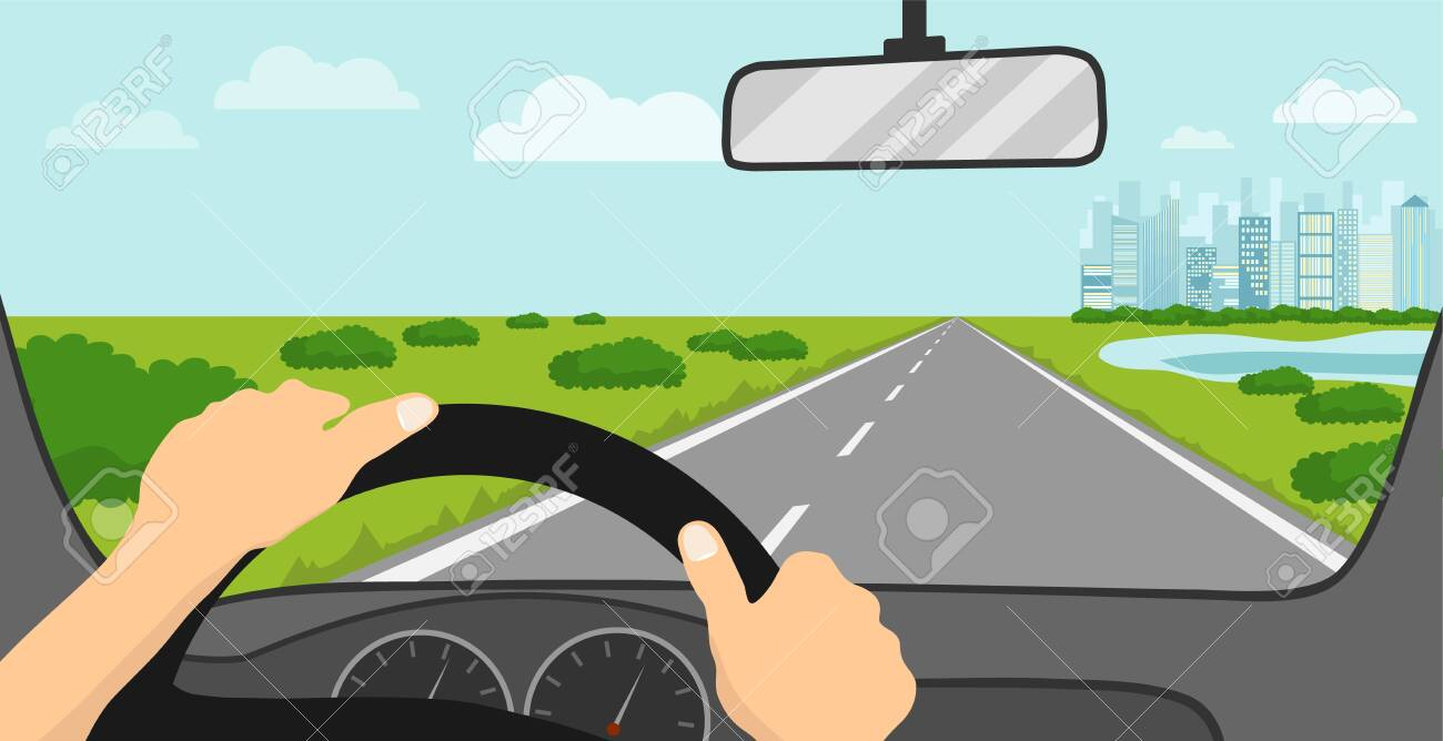 View of the road from the driver's seat. The driver looks at the road through the windshield of the car. Vector illustration. Vector. - 148502763