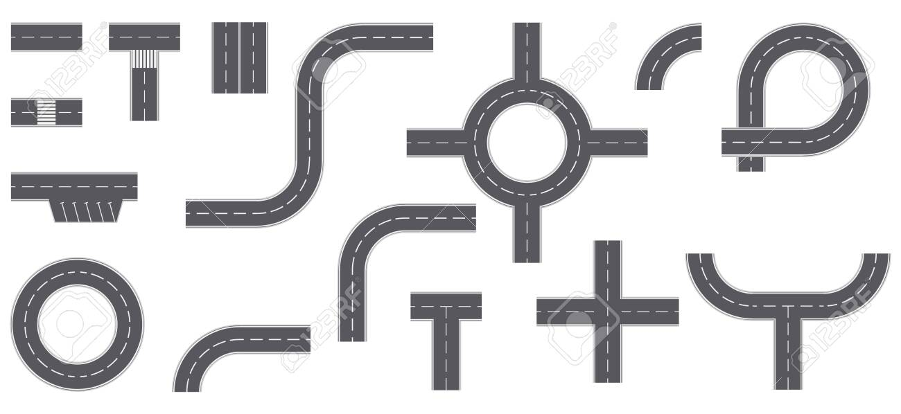 Street and road with footpaths and crossroads. elements for city map. Top view road elements. Street junction and roads objects. Set of street road icons. - 148060387