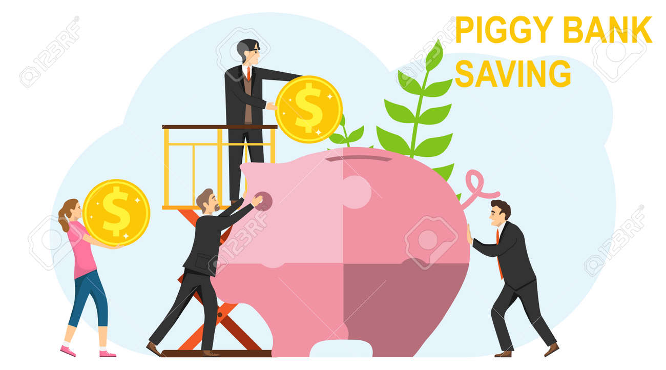 Collaboration, cooperation, interaction. A team of people puts together a puzzle of a piggy bank. Investing in a piggy bank. Vector illustration. Vector. - 148272578