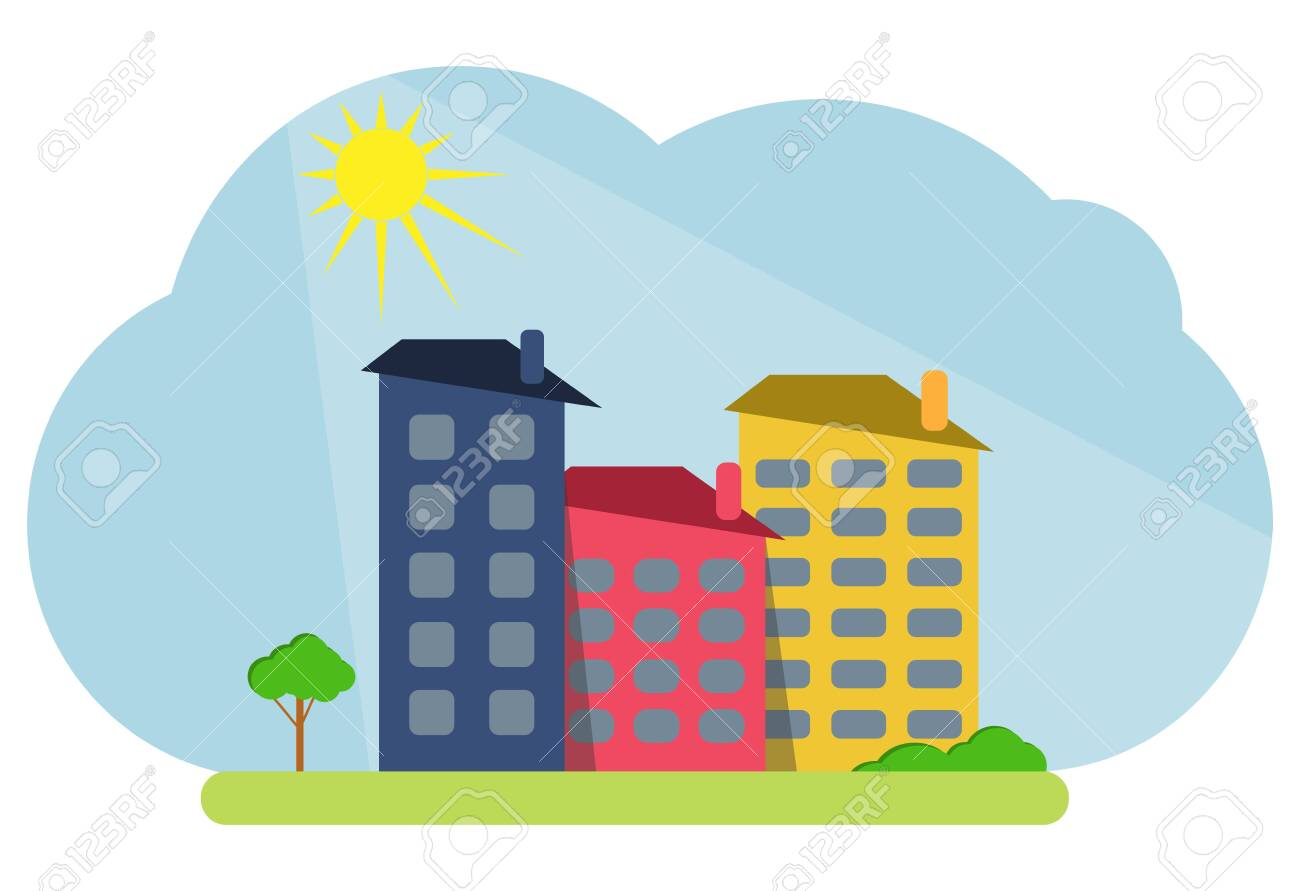Cartoon colored houses with shadows and trees against the backdrop of the shining sun. Decorative toy houses. Vector illustration of cartoon houses. Vector. - 149896872