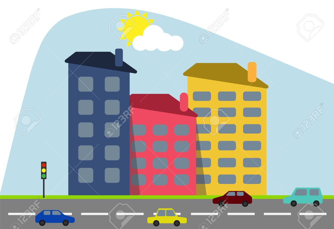 Cartoon colored houses with shadows and trees against the backdrop of the shining sun with a highway and cartoon cars. Decorative toy houses. Vector illustration of cartoon houses. Vector. - 149139254