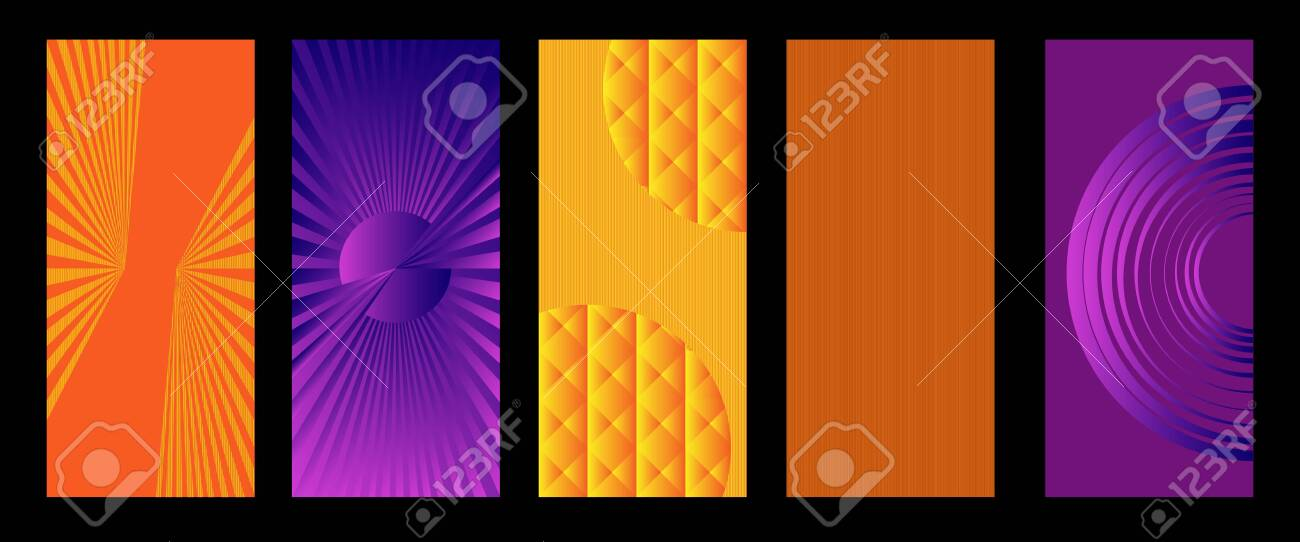 Abstract geometric patterns with elements of lines, spirals and gradients. Set of five vertical abstract banners for cover design. Vector, abstract illustration. Vector. - 149896881