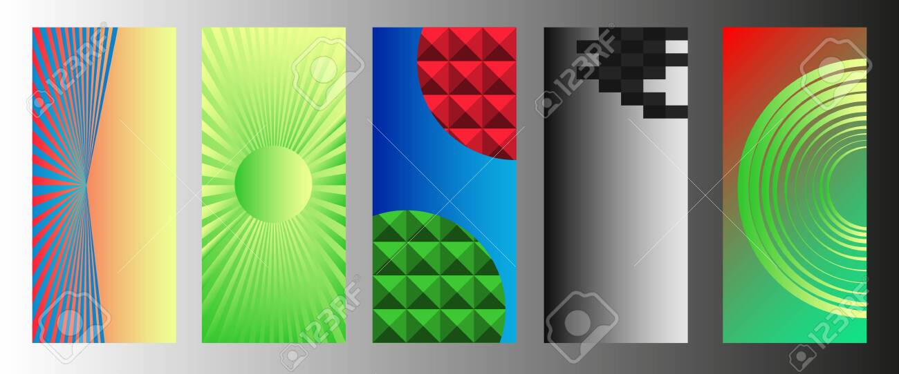 Abstract geometric patterns with elements of lines, spirals and gradients. Set of five vertical abstract banners for cover design. Vector, abstract illustration. Vector. - 149896884