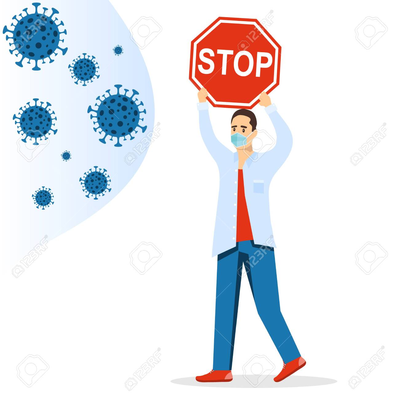 COVID-19. A masked man holds a banner stop coronavirus, protecting himself from viruses flying at him. Vector illustration. Vector. - 149896906