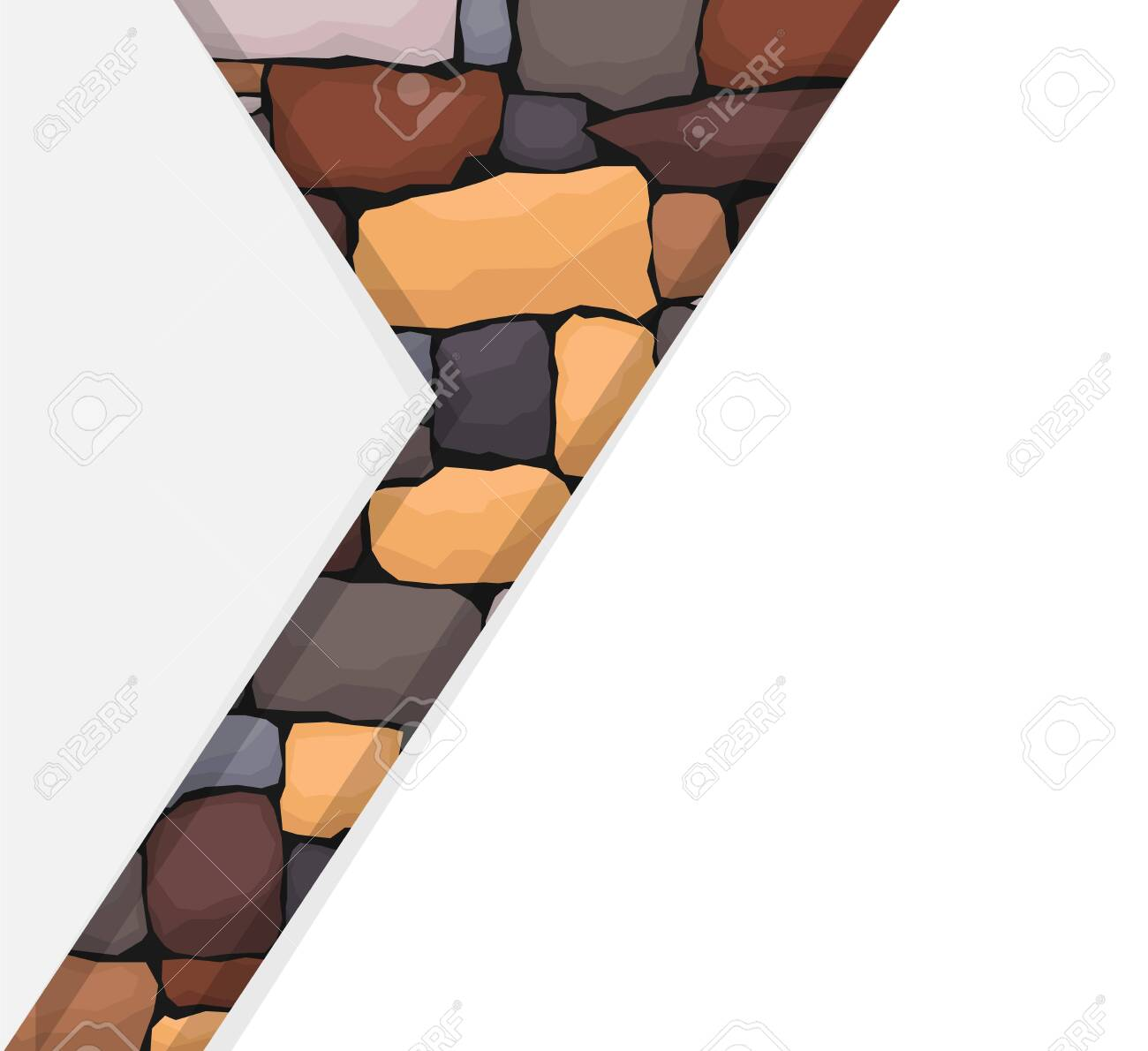Abstract background with white polygons cutting stone masonry. Vector illustration of abstract image for magazine cover. Vector. - 149140620