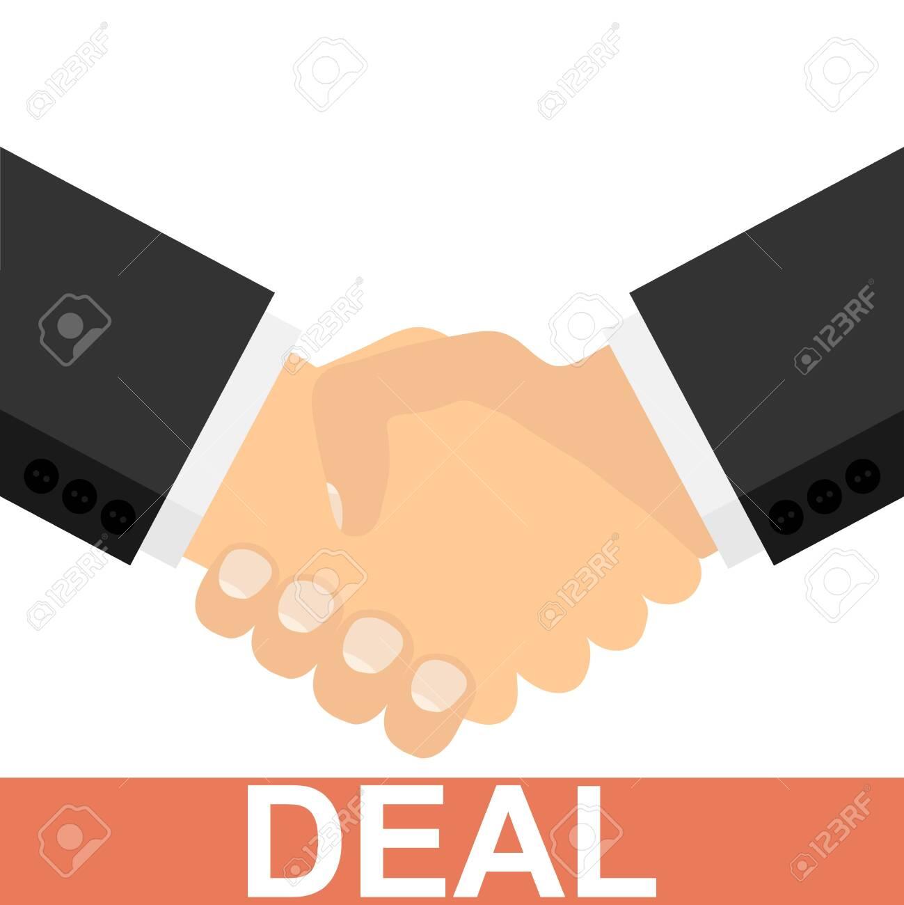 Deal. Successful deal. Two businessmen shake hands. Handshake. Vector illustration Vector - 150176323