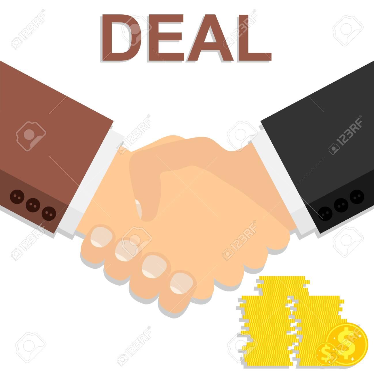 Handshake. Deal. Two businessmen shake hands after closing a deal. Vector illustration. Vector. - 150868538