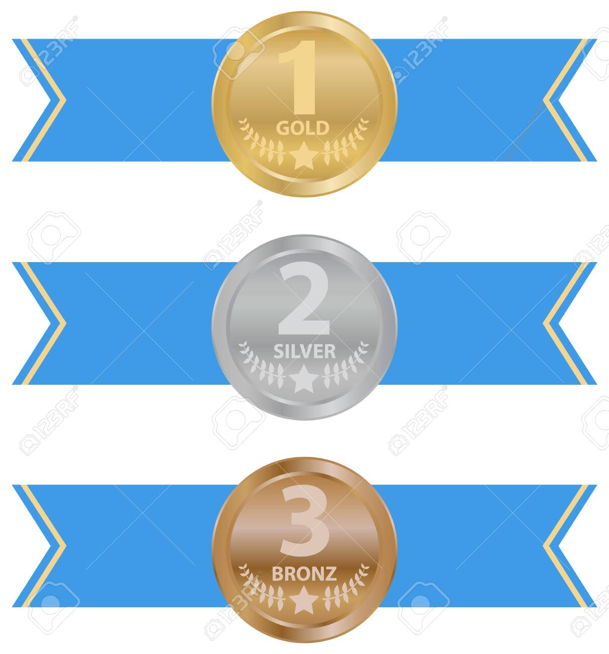Sports medal, trophy. Gold, silver and bronze sports medal with ribbons. Vector illustration. Vector. - 151138497