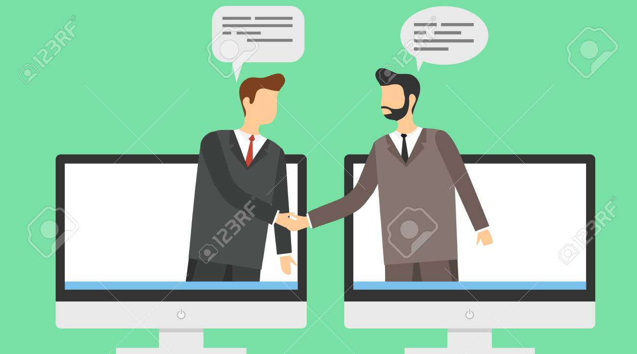 The conclusion of the transaction online. Two businessmen shake hands on a background of computer screensavers. Vector illustration. Vector. - 151123090
